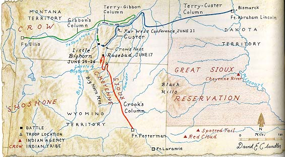 PreBattle Geography Of The Battle Of Little Bighorn - Us map with little bighorn river